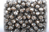 13 feet (4.33 yards) MUSHROOM BROWN TAUPE Crystal Rondelle Rosary Chain, gunmetal, 8mm faceted rondelle glass beads, fch0429b