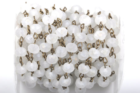 13 feet (4.33 yards) FROSTED WHITE Crystal Rondelle Rosary Chain, bronze, 8mm faceted rondelle glass beads, fch0430b