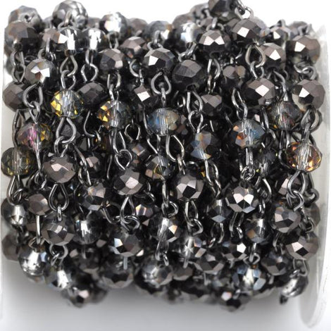 1 yard Smoky Grey AB Crystal Rondelle Rosary Chain, gunmetal, 6mm faceted rondelle glass beads, fch0433a