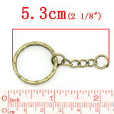 "30 Bronze Key Rings with Chain, for adding your own charms, beads, 1"" diameter fin0555"
