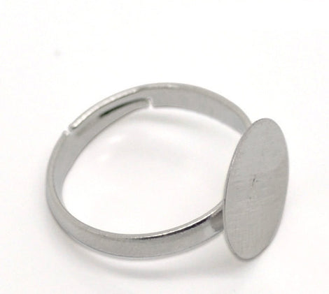 20 Silver Tone Metal Ring Blanks, adjustable size 7.5-9.5, adjustable, pad fits 12mm round cabochons, fin0556