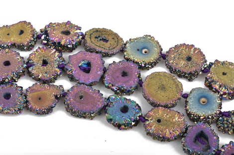 2 RAINBOW Druzy Beads, Natural Quartz, Titanium Plated, Cross Section of Stalactite, 12mm to 15mm, gdz0182