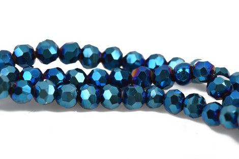 4mm METALLIC BLUE IRIS Glass Crystal Round Beads, Opaque Faceted Beads, 100 beads, bgl1546