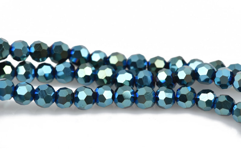 4mm METALLIC PEACOCK IRIS Glass Crystal Round Beads, Blue Green Opaque Faceted Beads, 100 beads, bgl1551