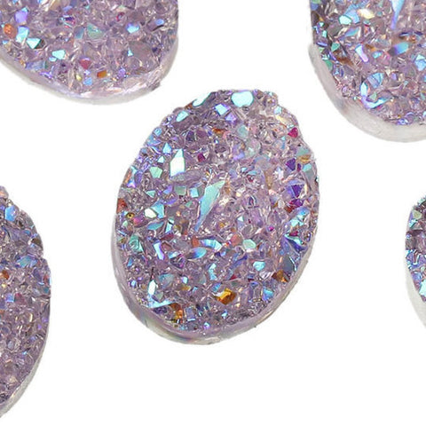 10 Oval Resin Ab Coated Pale Lavender PURPLE DRUZY CABOCHONS, faux glitter druzy, 18x13mm, cab0437