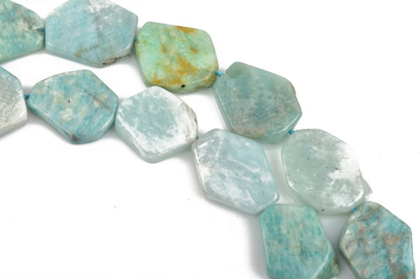 20mm AMAZONITE Flat Slab Gemstone Beads, full strand, 19-20 beads, gaz0014