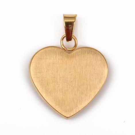 "1 GOLD Stainless Steel HEART Metal Stamping Blank Charm Pendant with Bail, 22mm wide (7/8""), very thick gauge, chg0409"