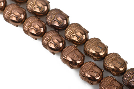 10 COPPER BRONZE Hematite BUDDHA Beads, Titanium Coated Hematite Gemstone Beads, 10x8mm,  ghe0113