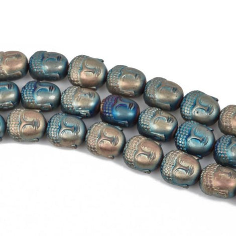 10 Blue and Gold MATTE HEMATITE BUDDHA Beads, Titanium Coated Hematite Gemstone Beads, 10x8mm, ghe0119