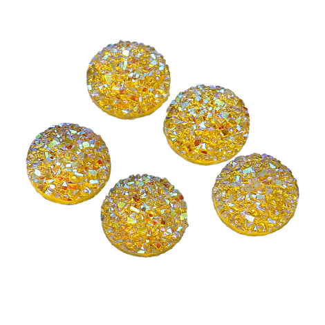 10 Round Resin YELLOW RAINBOW Glitter DRUZY Cabochons, faux druzy, 12mm  cab0449