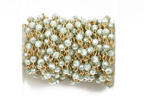 13 feet (4.33 yards) PASTEL MINT GREEN Crystal Rosary Chain, bright gold, 4mm round faceted crystal beads, fch0442b