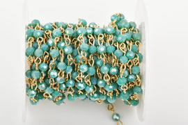 13 feet (4.33 yards) TURQUOISE GREEN Crystal Rosary Chain, bright gold, 4mm round faceted crystal beads, fch0443b