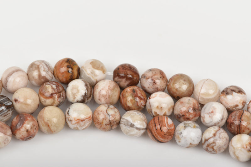 12mm CARAMEL AGATE Round Gemstone Beads, natural, brown, tan, white, rust, grey, full strand, about 32 beads, gag0266