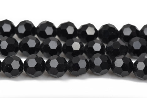 8mm Faceted JET BLACK Round Glass Crystal Beads, 50 beads, bgl1439