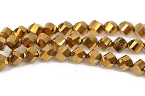 8mm Helix Crystal Beads, Faceted METALLIC GOLD Glass Crystal Beads, 35 beads, bgl1475