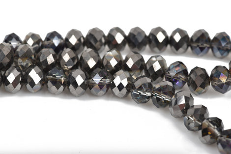 8mm Rondelle Crystal Beads, Faceted MYSTIC BLACK Metallic Rainbow Transparent Glass Crystal Beads, 72 beads, bgl1472