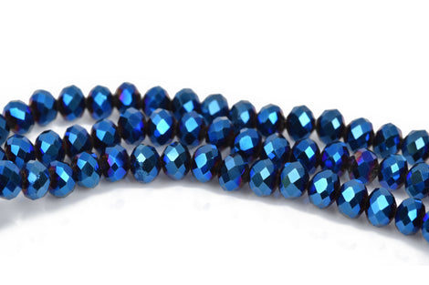 6mm Rondelle Crystal Beads, Faceted METALLIC BLUE IRIS Opaque Glass Crystal Beads, 100 beads, bgl1512