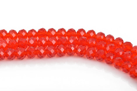 6mm Rondelle Crystal Beads, Faceted RED Transparent Glass Crystal Beads, 100 beads, bgl1517