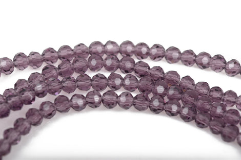 4mm PURPLE AMETHYST Glass Crystal Round Beads, Transparent Faceted Beads, 100 beads, bgl1518