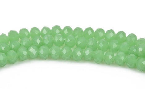4mm PASTEL GREEN Opal Rondelle Crystal Beads, Faceted Opaque Glass Crystal Beads, 145 beads, bgl1532