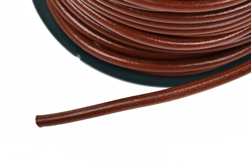 5mm COGNAC Round Licorice Leather, European Leather Cord, flexible, 1 yard (3 feet), cor0106