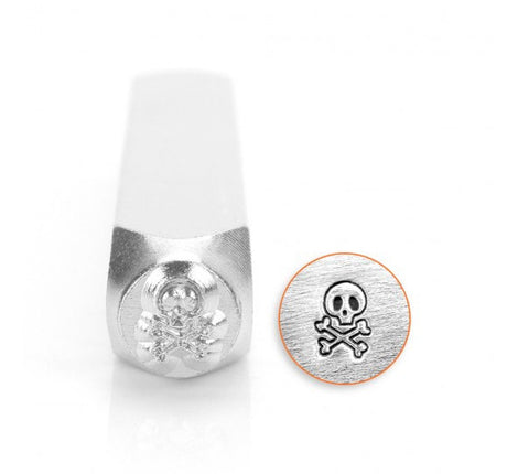 ImpressArt Metal Design Stamp,  6mm SKULL AND BONES tol0200