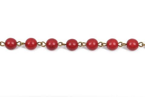 1 yard (3 feet) RED Howlite Rosary Chain, Howlite Bead Chain, bronze, 6mm round stone beads, bulk on spool, fch0486a