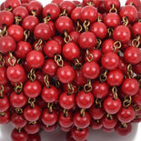 1 yard RED Howlite Rosary Chain, Howlite Bead Chain, bronze, 6mm round stone beads, bulk on spool, fch0486a
