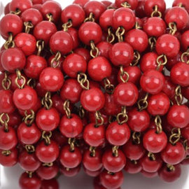 13 feet RED Howlite Rosary Chain, bronze, 8mm round stone beads, bulk on spool, fch0491b