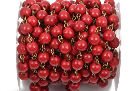 1 yard RED Howlite Rosary Chain, bronze, 8mm round stone beads, fch0491a