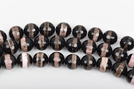 12mm Round BANDED AGATE Beads, faceted gemstone agate beads, black pink grey tan, full strand, about 32 beads, gag0272