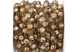 1 yard LIGHT TOPAZ GOLD Half Plated Crystal Rondelle Rosary Chain, bronze, 6mm faceted rondelle glass beads, fch0489a