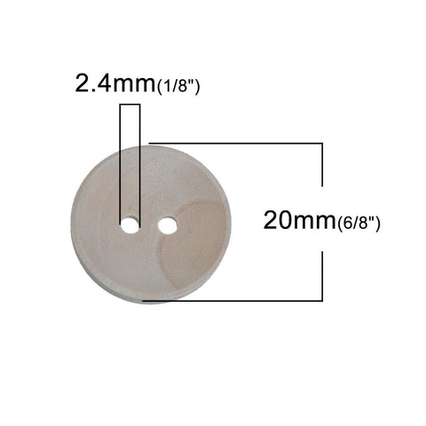 "100 Wood Craft Buttons, 20mm or 3/4"" diameter light wood color, but0257"
