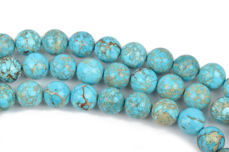 10mm Turquoise Blue VARISCITE Beads, Smooth Round Beads, Round Gemstone Beads, full strand, 40 beads per strand, gms0034