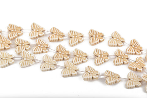 15mm WHITE/CREAM Howlite Butterfly Beads, full strand, 24 beads, how0563