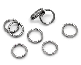 8mm split rings, 50 Gunmetal Split Rings, 8mm Double Loops Split Rings Open Jump Rings, gunmetal keyrings, 8mm jump rings, jum0190