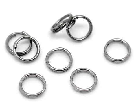 6mm split rings, 50 Gunmetal Split Rings, 6mm Double Loops Split Rings Open Jump Rings, gunmetal keyrings, 6mm jump rings, jum0172