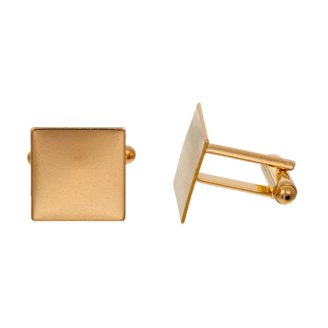 10 Gold Plated Square CUFF LINKS Blanks, CUFFLINKS, fits 15mm Square Cabochon Pad, fin0571
