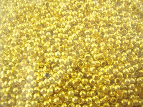 Gold Plated Crimp Beads, 2.5mm diameter, 2500 pieces, fin0599