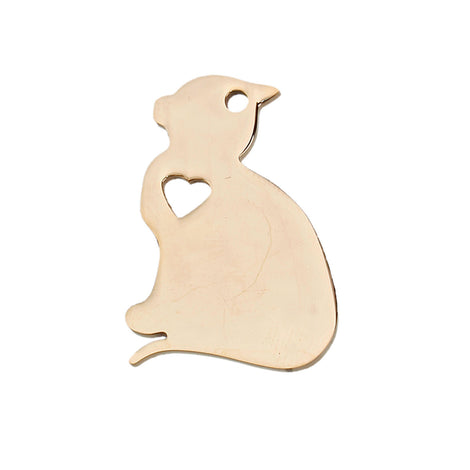 2 GOLD Stainless Steel CAT Charm Pendants, Dog Shape Charms, Design Metal Stamping Blanks 29x20mm, 15 gauge, chg0482