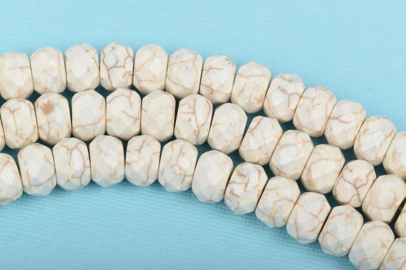 8mm WHITE Howlite FACETED Rondelle Beads, trade beads, full strand, about 88 beads, how0575