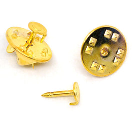 100 Bright Gold Plated Metal TIE TACK Pins, brooch pins, fits 5mm on round pad, tie tac pinbacks, clutch back pins, pin0108