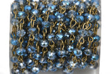 1 yard Blue AB Crystal Rondelle Rosary Chain, bronze, 6mm faceted rondelle glass beads, fch0510a
