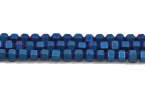 3mm Matte Blue Iris HEMATITE HEXAGON Beads, Titanium coated gemstone beads, full strand, 150 beads, ghe0127