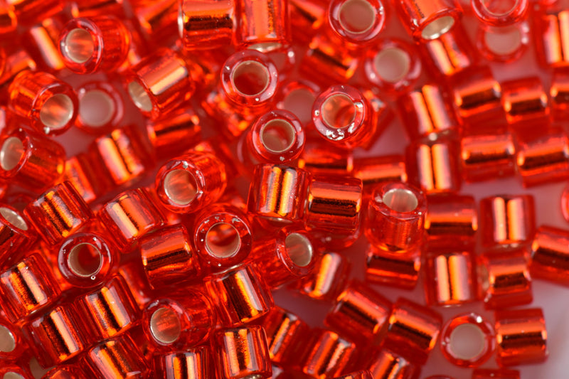 Size 8/0 Miyuki Delica Seed Beads, Silver Lined Red Orange, 20+ Grams, Color DBL-0043-TB, bsd0012