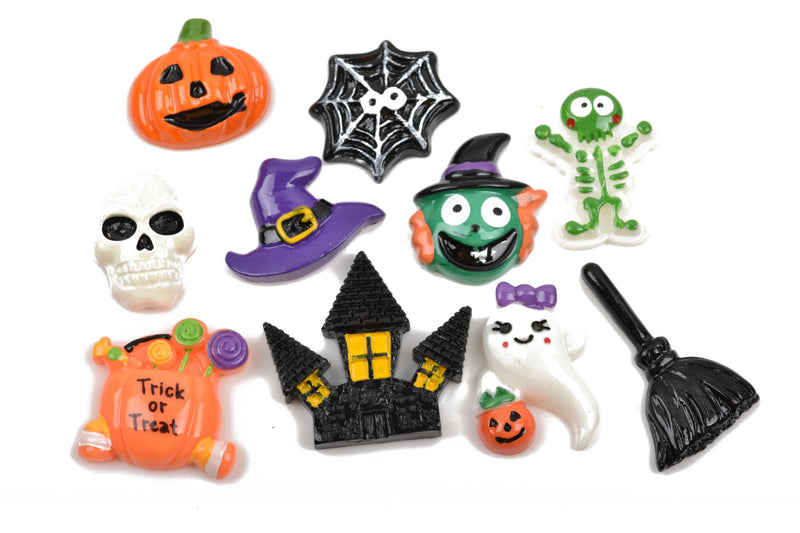 10 HALLOWEEN Cabochon flatback findings, skeleton, pumpkin, spider, mixed pack for decoden, kawaii, cute, cab0483