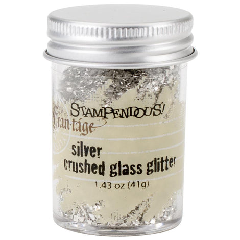 SILVER Crushed Glass Glitter, Stampendous Frantage, 1.4 oz. jar, for ICE Resin, Papercrafts, Scrapbook Embellishment, Mixed Media, cft0032