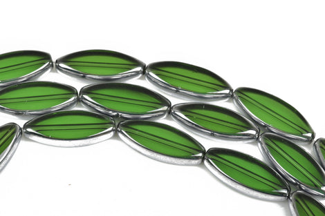 30mm x 12mm EMERALD GREEN OVAL Spindle Glass Beads Electroplate with Silver Metallic Edge Plating, 11 beads, bgl1542