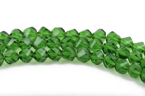 6mm Helix Crystal Beads, Faceted EMERALD GREEN Transparent Glass Crystal Beads, 100 beads, bgl1571