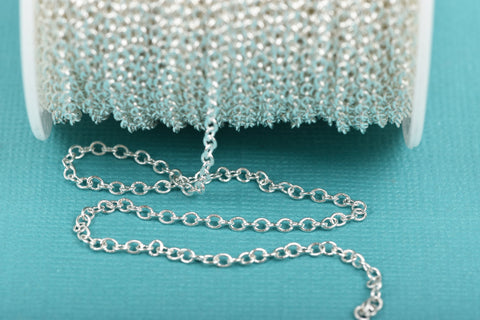1 yard (3 feet) Bright Silver Plated Cable Chain, Oval Links are 2.5x2mm unsoldered, fch0459a